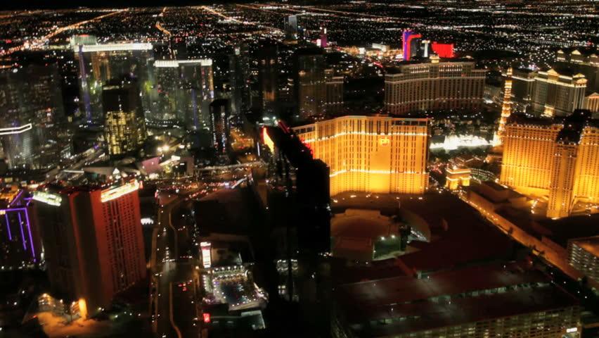Las Vegas - Circa 2010: The Las Vegas strip in 2010. Aerial view of the Las vagas casinos in Las Vegas, Nevada.
