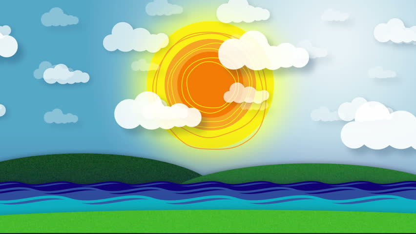 Colorful Cartoon Style Animation With Sun And Clouds On ...