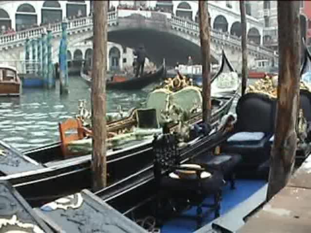 Gondola at rialto bridge - SD stock footage clip