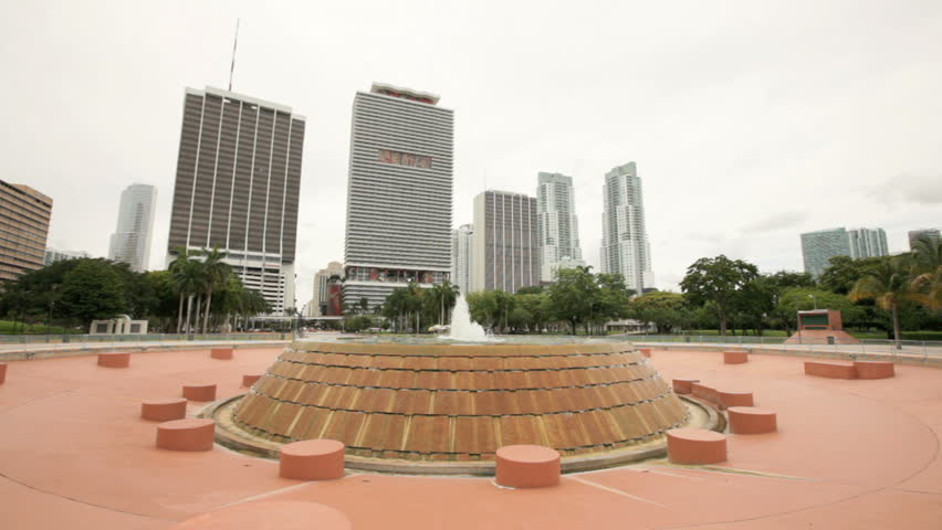 Fountain at Bicentennial Park at Downtown Miami June 2, 2012 in Miami, FL. Bicentennial Park is host to many large-scale events as the park can hold around 45,000 people - HD stock footage clip