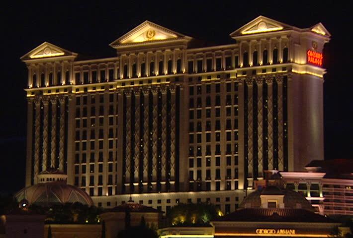 LAS VEGAS Circa 2002 Caesars Palace Exterior In Las Vegas At Night Stock F