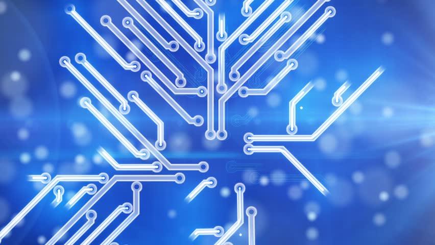blue growing circuit board. Computer generated HD 1080 Progressive