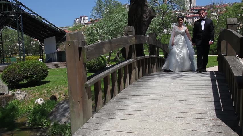bride and groom walking on the bridge - HD stock video clip
