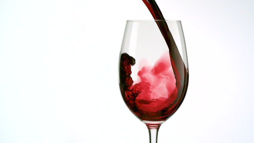 Red wine poured into glass shooting with high speed camera, phantom flex. - HD stock footage clip
