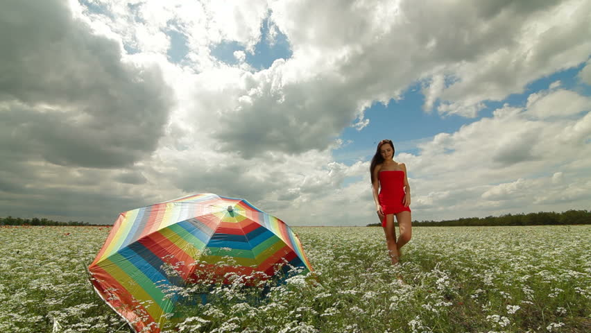 Attractive young woman in a red dress walking through the field - HD stock footage clip