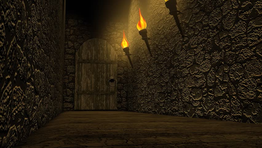 A typical old castle passage way, rough wall, torch lights.