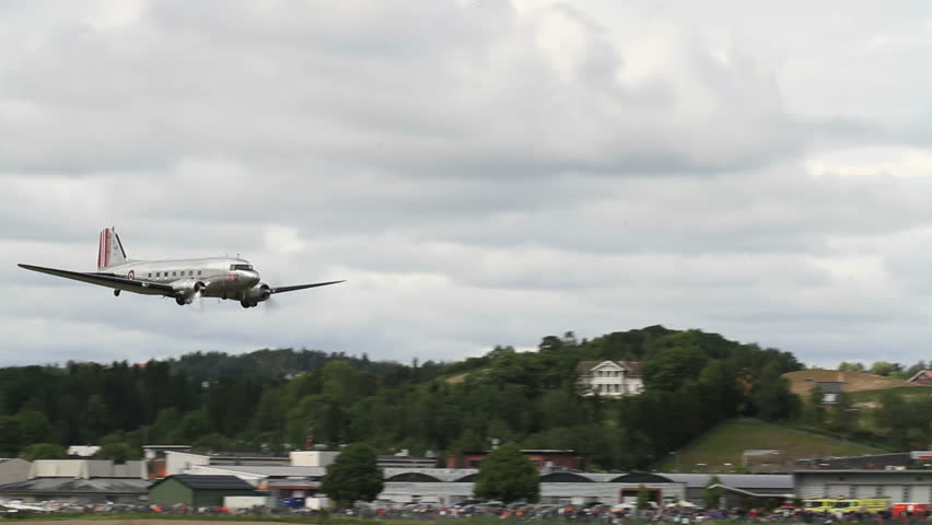 OSLO, NORWAY - JUNE 3, 2012: 100 year anniversary of Kjeller Airport, one of the oldest still operational in the world! Dakota DC-3 in airshow display