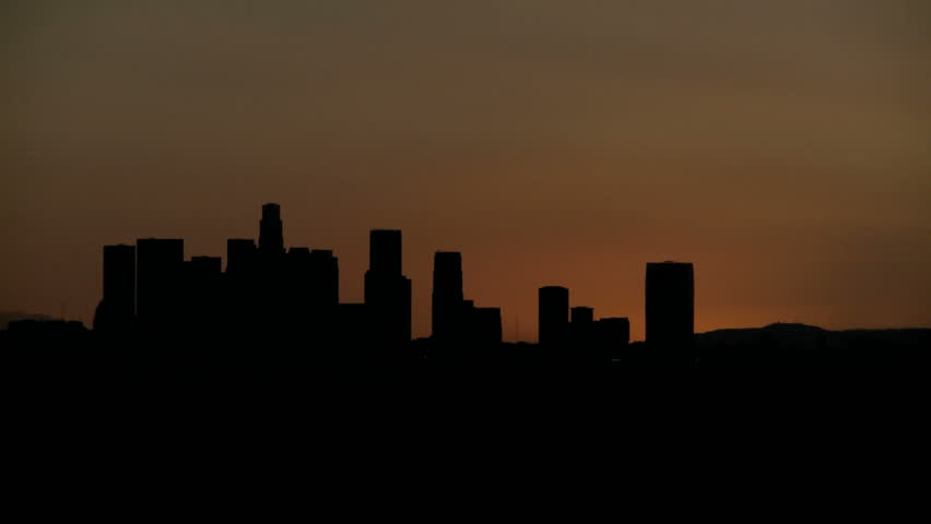 Sunrise Timelapse with heat haze of Downtown Los Angeles skyline