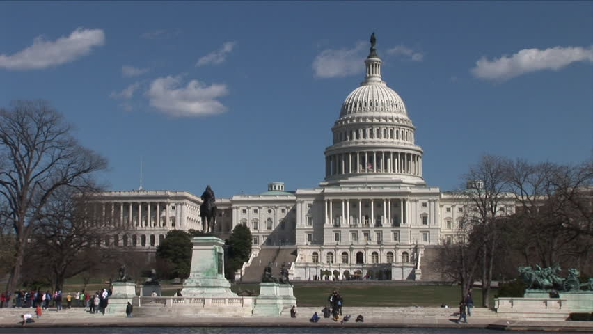 Very wide shot of Capitol Building in Washington DC - HD stock footage clip