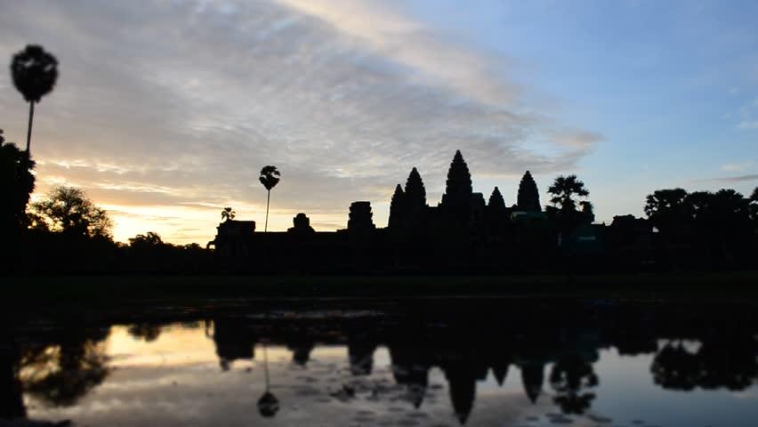 Timelaspe of sunrise at angkor wat - HD stock video clip