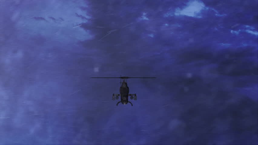 Outpost attacked by a light combat helicopter...(Computer generated comp with