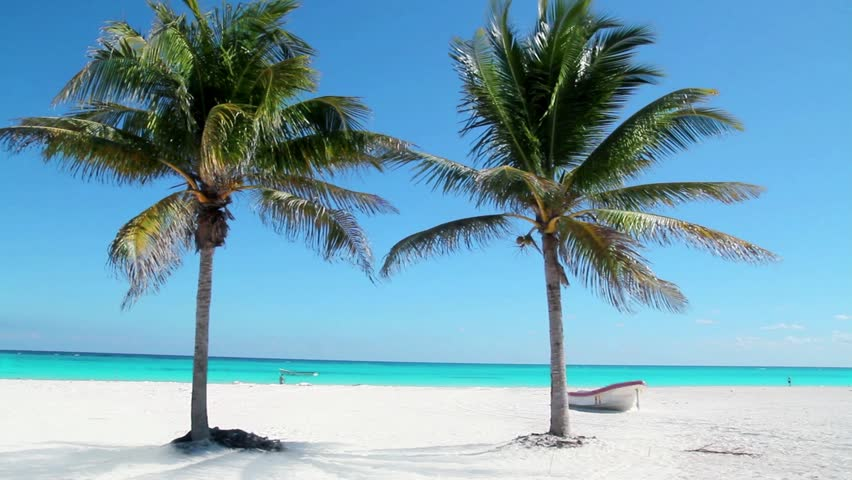 Caribbean Tulum white sand beach with two palm trees and boat #2418227