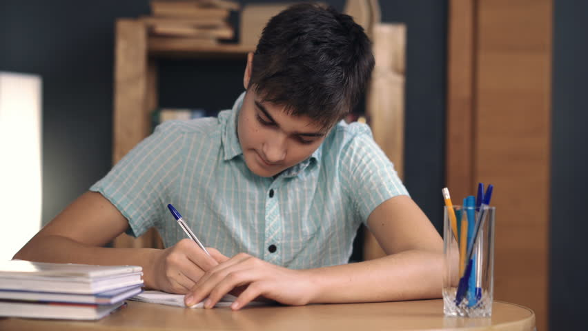 Teenager makes lessons and writes | Shutterstock HD Video #24240986