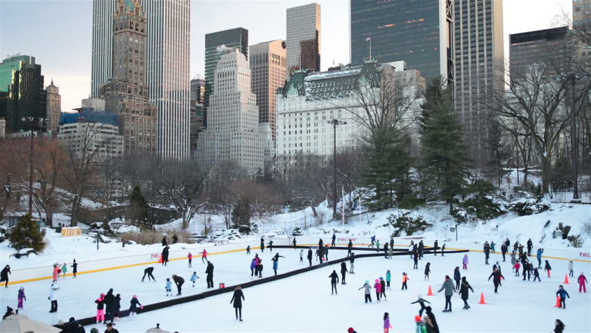 People, families, ice skating in Central Park New York City | Shutterstock HD Video #24252299