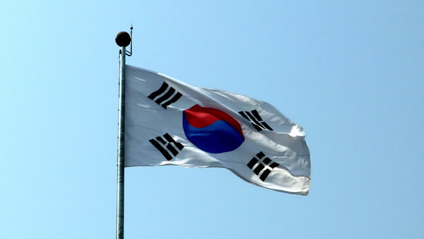 shot of the South Korean flag - HD stock video clip
