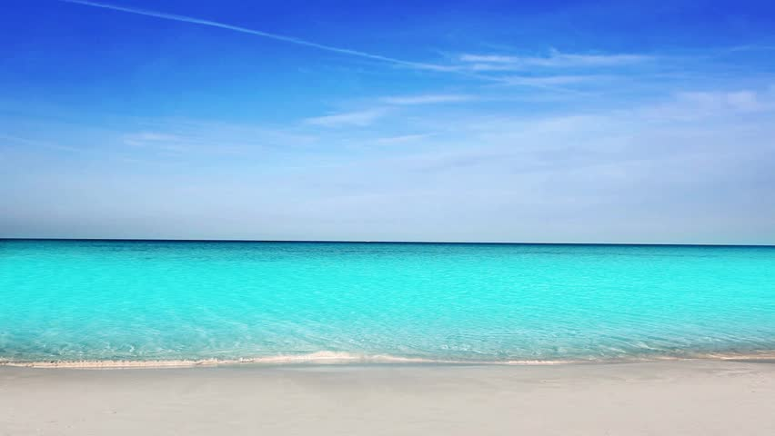 Balearic Ibiza Formentera turquoise beach with white sand and blue summer sky #2432420