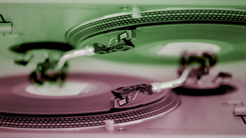 pattern made from clips of needle moves across vinyl on turntable - HD stock footage clip
