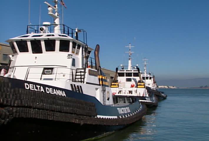 SAN FRANCISCO - Circa 2002: Tug boats in Fisherman's Wharf in San Francisco in 2002. - SD stock video clip