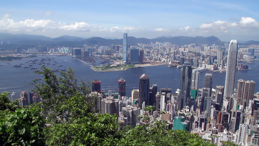 Hong Kong skyline - Central District, Victoria Harbor, Victoria Peak, Hong Kong Island and Kowloon, Hong Kong. | Shutterstock HD Video #2460869