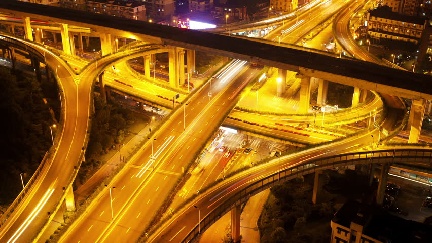 traffic on Junction at night,Time lapse