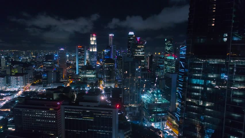 Singapore downtown core at night Aerial view Blu illimination | Shutterstock HD Video #24659945