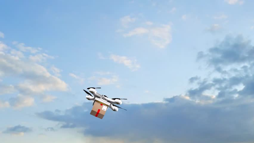 Drone Quadrocopter delivers a package - fast autonomous drone delivery | Shutterstock HD Video #24693749