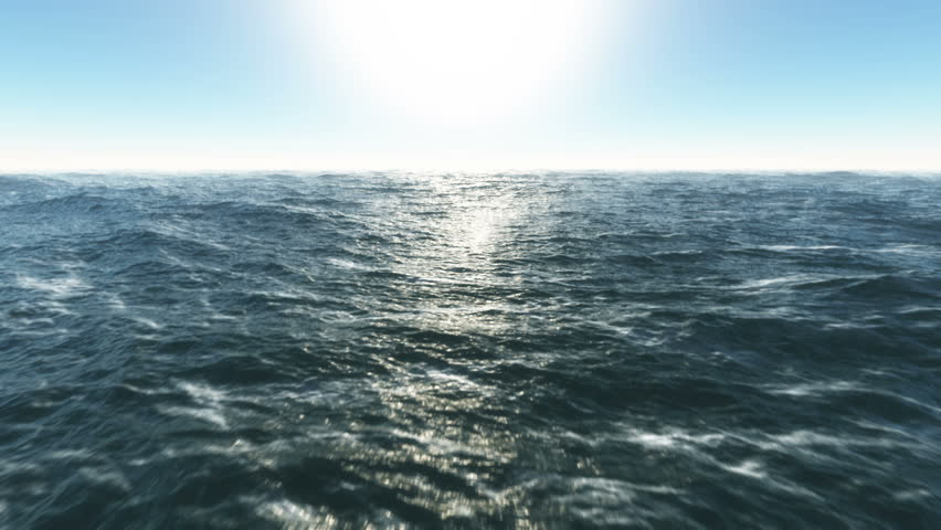 Ocean fly over,HD high speed animation just above the ocean waves facing the sun . #2474963