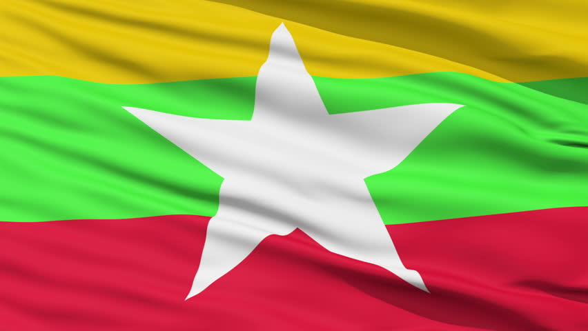 Closeup cropped view of a fluttering national flag of Myanmar - HD stock footage clip