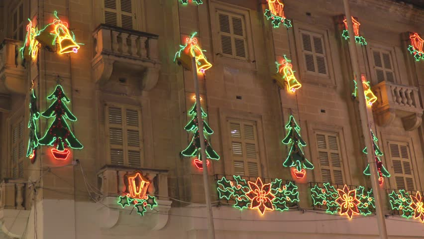 Ancient palace decorated by Christmas lights | Shutterstock HD Video #24904088