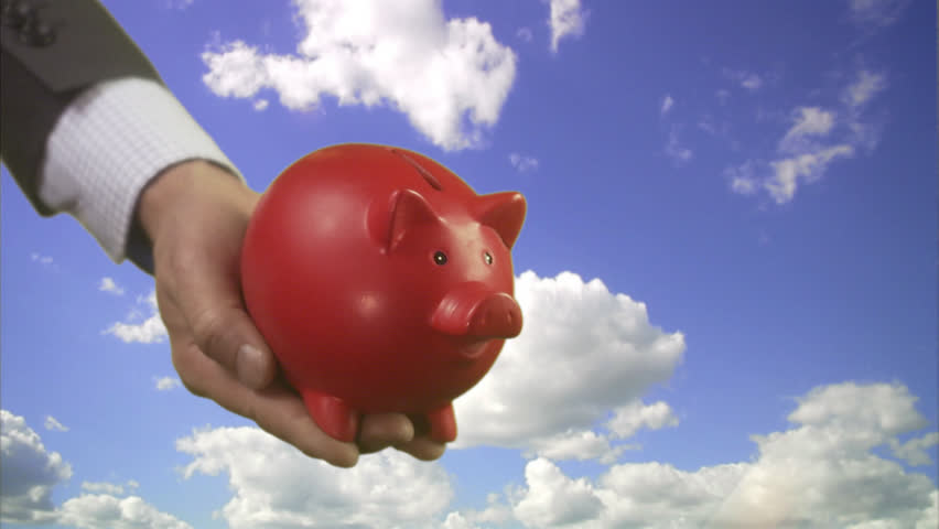 A Red Pig Bank Entering The Picture Stock Footage Video