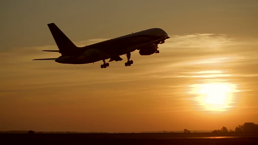 Plane takes off at sunrise background | Shutterstock HD Video #2494565