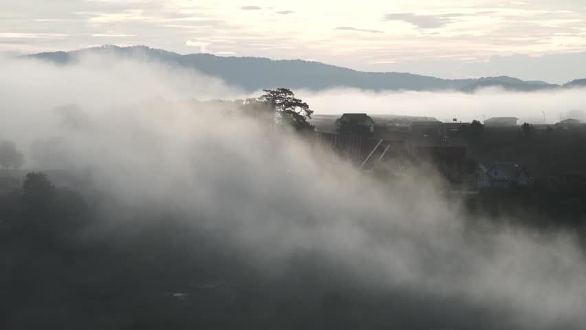 DA LAT, VIETNAM, Sep 23, 2015: pine forest, highland Da Lat city fog in the morning | Shutterstock HD Video #25001783