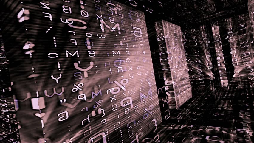 Data Storm 0311 - Flashing rows of data, numbers and symbols down a blue and purple labyrinth (Loop). - HD stock footage clip