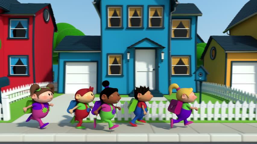 cute cartoon children running along a suburban street - high quality 3d animation - loopable  - HD stock video clip