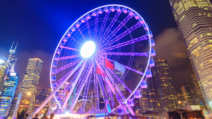 Night Hong Kong Observation Ferris Wheel Landmark Travel Places Of Hong Kong 4K Time Lapse (zoom out) | Shutterstock HD Video #25035164