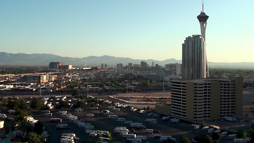 Outskirts of Las Vegas, Car camping & parking. Bird's-eye view. - HD stock video clip