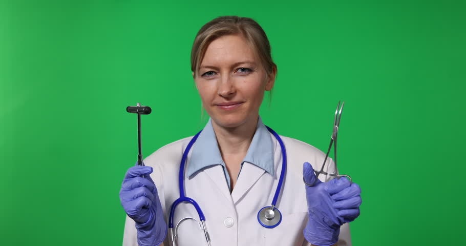 Positive Healthcare Woman Looking Camera, Promote Surgery Object Tool Greenscreen | Shutterstock HD Video #25056251
