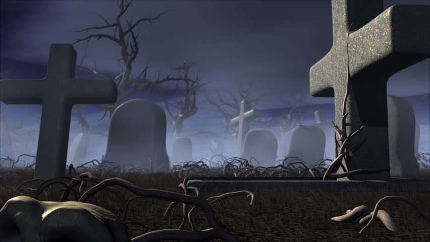 Halloween night in a gothic cemetery. Horror 3d animation. The Moon transforming into jack o' lantern of pumpkin | Shutterstock HD Video #2506832