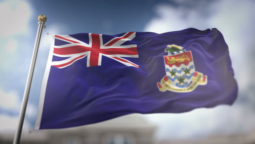 Cayman Islands Flag Waving Slow Motion 3D Rendering Blue Sky Background - Seamless Loop 4K