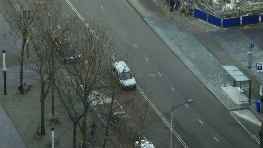 Top view from tower on crossroad amsterdam cars passing | Shutterstock HD Video #25084538