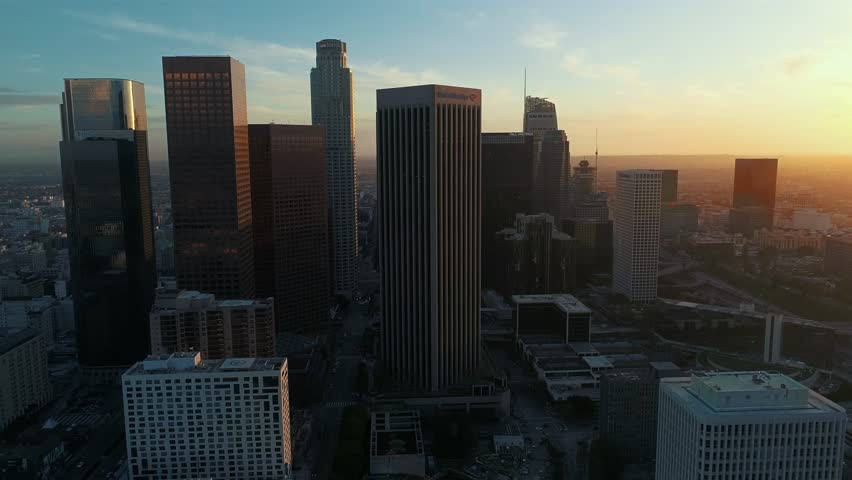 Aerial, drone view above Downtown Los Angeles / 4k / Los Angeles / 03.20.2017 | Shutterstock HD Video #25144415
