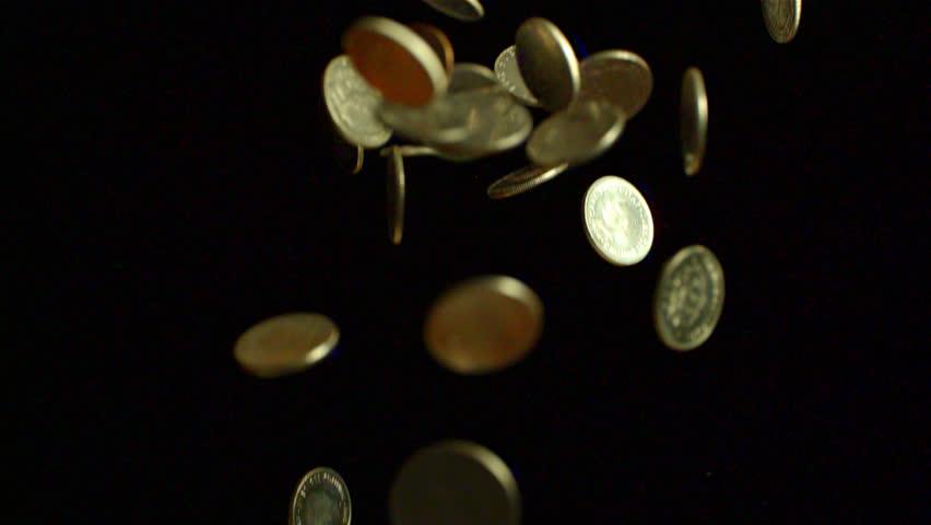 Money falling down in slow motion. - HD stock footage clip