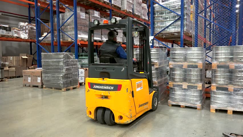 Loading work at the beer warehouse complex. September 20, 2016 in Moscow, Russia | Shutterstock HD Video #25182035