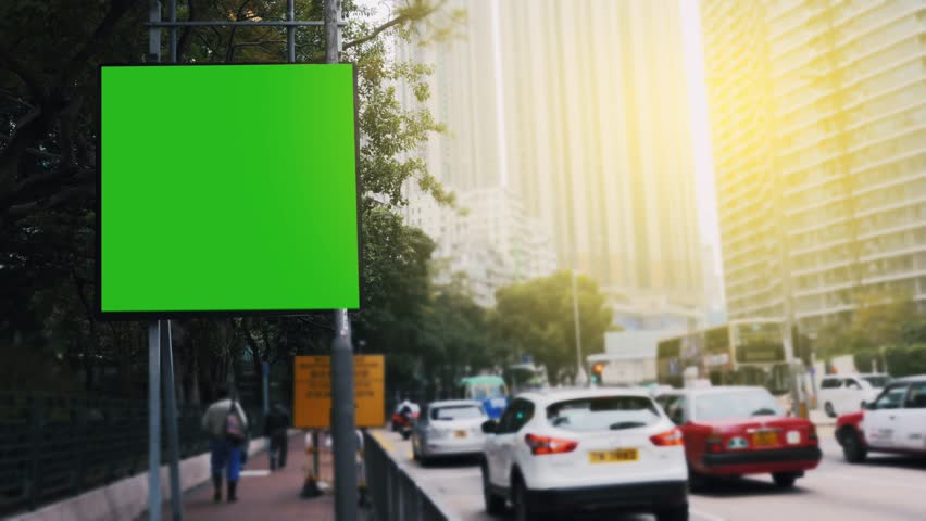 A Billboard with a Green Screen on a  Streets | Shutterstock HD Video #25182071