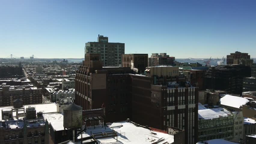 High up view of a sunny day in snowy Brooklyn, New York | Shutterstock HD Video #25187705