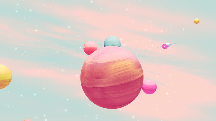 Looped cartoon outer space exploration animation. Wooden texture toy planets and one satellite.  | Shutterstock HD Video #25198046