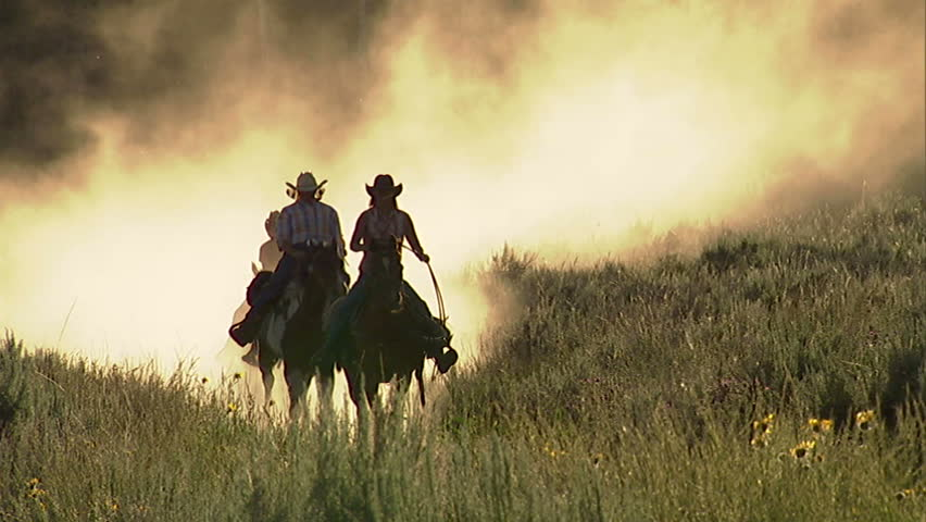 Women ride galloping horses along a country road - HD stock video clip