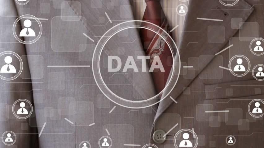 Businessman pressing button DATA network. Computer technology virtual reality. | Shutterstock HD Video #25209818