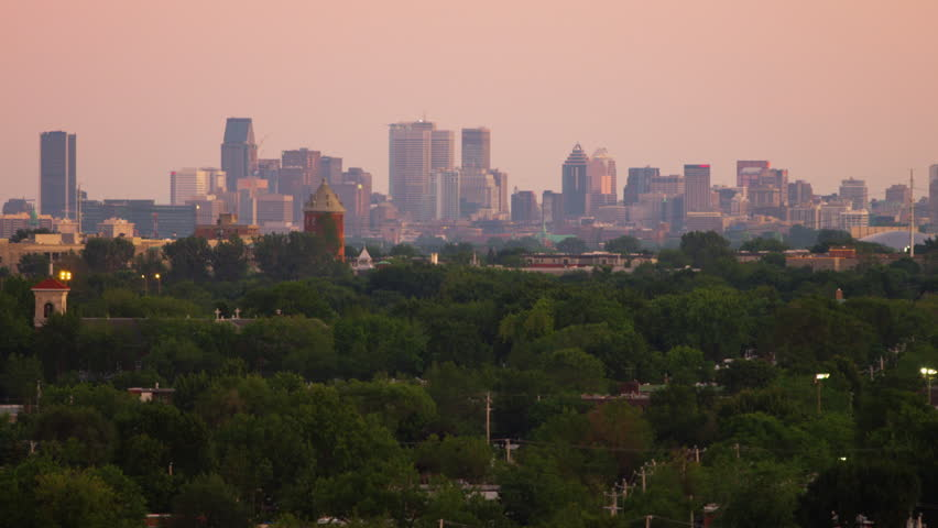 Tight Shot of Montreal Skyline from Suburbs | Shutterstock HD Video #25212104