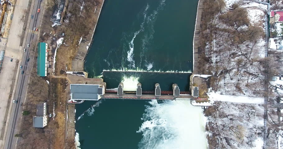 Water release from dam. Aerial view from copter, drone. | Shutterstock HD Video #25223003